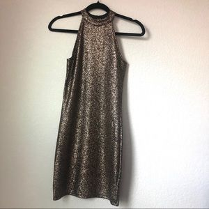 One clothing gold metallic print dress